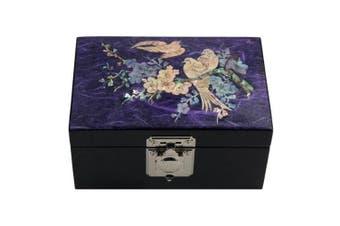 Mother of Pearl Bird and Flower Design Purple Wooden Jewellery Mirror Trinket Keepsake Treasure Lacquer Box Case Chest Organiser