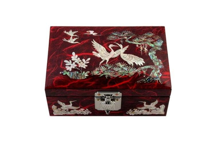 Mother of Pearl Birds and Pine Tree Design Lacquered Wooden Red Mirrored Jewellery Trinket Keepsake Treasure Gift Box Case Chest Organiser