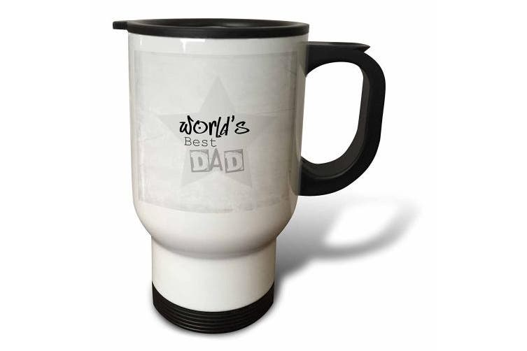 (410ml Travel Mug) - Patricia Sanders Creations - Worlds Best Dad in Grey Words Fathers Day - Travel Mug