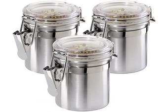 Oggi 3-Piece Mini Stainless Steel Canister Set with Clear Arylic Lid and Locking Clamp