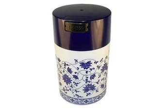 (Blue Cap Blue Floral) - Teavac 180ml Vacuum Sealed Tea Storage Container, Blue Cap and White Body/Floral Design