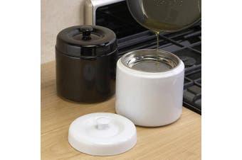 (8.000, 8.000, NaN, White) - White Stoneware Grease Keeper