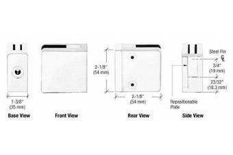 CRL White Z-Series Square Type Flat Base Zinc Clamp for 1cm and 1.3cm Glass with Repositionable Plate by CR Laurence