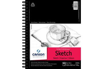 """(9"""" x 12"""" Side Wire) - Canson Artist Series Universal Paper Sketch Pad, for Pencil and Charcoal, Micro-Perforated, Side Wire Bound, 29kg, 23cm x 30cm , 100 Sheets"""