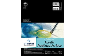 (23cm  x 30cm ) - Canson Artist Series Montval Acrylic Pad, Sized Heavyweight No-Buckle Paper, Fold Over, 80kg, 23cm x 30cm , 10 Sheets