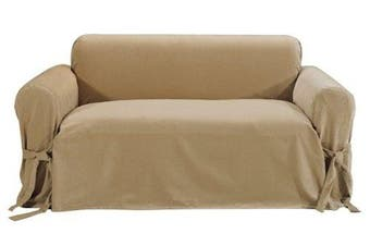 (Tan) - Classic Slipcovers Solid Velvet Loveseat Slipcover, Tan