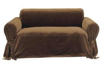 (Brown) - Classic Slipcovers Solid Velvet Loveseat Slipcover, Brown