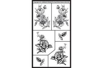 (Detailed Floral) - Rub 'N' Etch Designer Stencils 13cm x 20cm -Butterflies