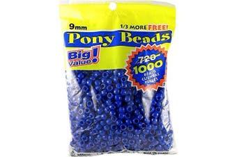 (1000 Beads, Blue) - Pony Beads 6mmX9mm 1,000/Pkg