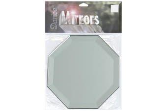 (10cm ) - Octagon Glass Mirror W/Bevel Edge 1/Pkg