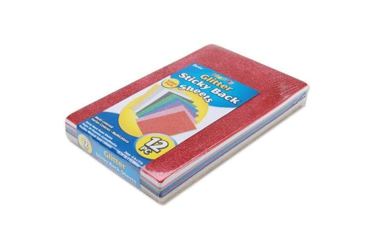 Glitter Sticky Back Foam Sheets 15cm x 23cm 12/Pkg