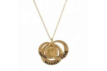 Love Faith Blessed Angel Coin Pendant