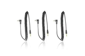 (3 PCS) - FotoTech 3.5 mm to Male Flash PC Sync Cable 14-Inch Coiled Cord with Screw Lock Suitable for Nikon, Canon, and most DSLR cameras Pocketwizard Miniphone PC1 with FotoTech Velvet Bag (3 PCS)