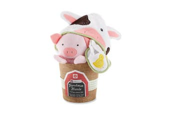 "(Farmhouse Friends) - Baby Aspen Neutral ""Farmhouse Friends"" 3 Piece Bathtime Bucket Gift Set with Hooded Towel, Mitt, and Booties- 0-9 Months"