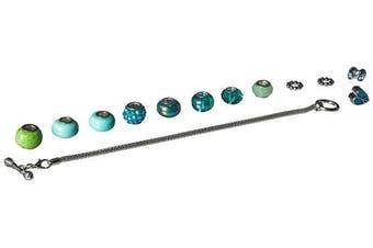 Cousin DIY Teal Crystal Large Hole Bead Bracelet Kit - 15 Pieces