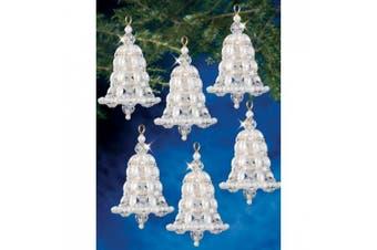 "(Crystal & Pearl Bells 2.75"" Makes 6) - Holiday Beaded Ornament Kit"