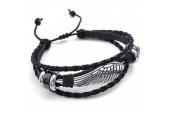 KONOV Mens Leather Wrap Bracelet, Vintage Wing, Fit 18cm - 23cm , Black Silver