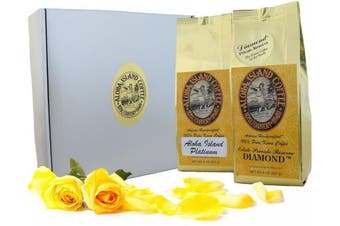 (Silver and Gold Gift, 0.5kg of Pure Kona Coffee) - 100% Pure Kona Coffee Gift, Silver and Gold Gourmet Gift for Mothers Day, Fathers Day, Birthdays, Christmas, and All Occasions, 0.5kg Whole Bean