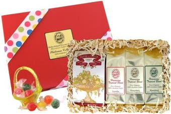(Flavoured Coffee and Candy Gift) - Flavoured Hawaiian Coffee and Candy Gift for Christmas and All Occasions, Chocolate, Hazelnut and French Vanilla Flavoured Coffee, Ground, Brews 36 Cups
