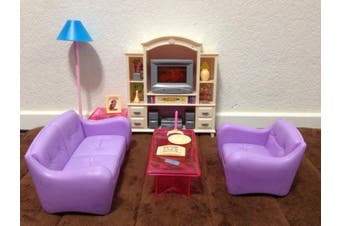 Compatible to Barbie Size Dollhouse Furniture- Living Room with TV/DVD Set & Show Case