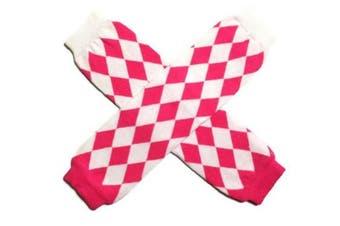 KWC - Hot Pink & White Diagonal Diamonds Baby Leg Warmer