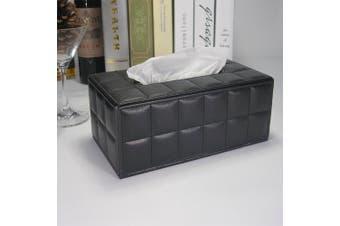 (Soft Black) - KINGFOM Imitation Suede Leather Rectangle Paper Tissue Box Dispenser Case Napkin Holder Home Office Decoration Car Accessory Colours (Soft Black)
