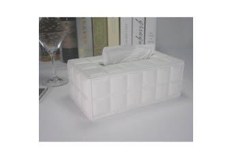 (White) - KINGFOM Imitation Suede Leather Rectangle Tissue Box Dispenser Case Napkin Holder Home Office Decoration Car Accessory Colours (white)