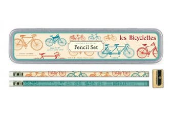 Cavallini Papers Pencil Set with 10 Pencils and 1 Sharpener, Vintage Bicycles