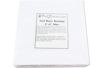 (200 20cm  x 20cm  SHEETS COLD WATER WASH-AWAY) - Threadart Cold Water Washaway Embroidery Stabiliser | 20cm x 20cm 200 Precut Sheets | For Machine Embroidery | Also Available Over 20 Additional Styles of Cutaway, Washaway, Tearaway, Sticky in Rolls and