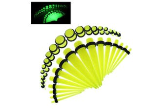 (Glow in the Dark Yellow) - BodyJ4You 36PC Gauges Kit Acrylic Taper Plug 14G-00G Ear Stretching Set Double O-Rings Piercing Jewellry