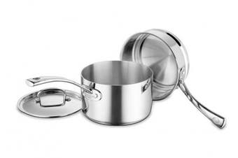 (Saucepan and Double Boiler Set, 3-Piece) - Cuisinart FCT1113-18 French Classic Tri-Ply Stainless 3-Piece Saucepan and Double Boiler Set