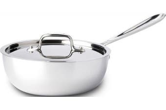 (1.9l) - All-Clad 4212 Stainless Steel Tri-Ply Bonded Dishwasher Safe 1.9l Saucier Pan with Lid / Cookware, Silver