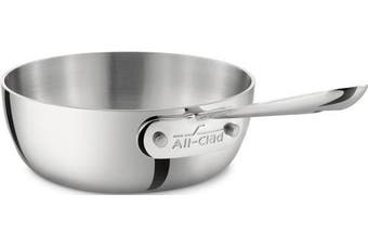 (Silver) - All-Clad 4211 Stainless Steel Tri-Ply Bonded Dishwasher Safe Saucier Pan / Cookware, 0.9l, Silver