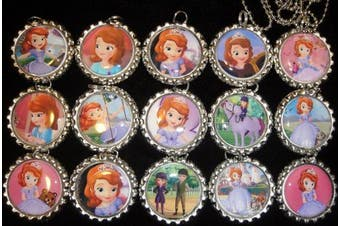 15 SOFIA THE FIRST PRINCESS Flat Bottle Cap Necklaces for Birthday, Party Favour Set A2