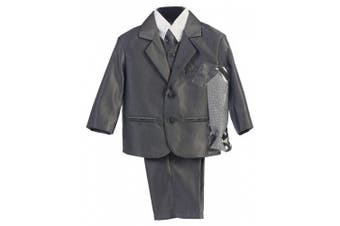 (5, Pewter) - Boy's 2-Button Metallic Suit in Pewter or Silver (Infant-Tween) Vest 2 Ties