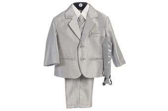 (X-Large / 18-24 Months, Silver) - Boy's 2-Button Metallic Suit in Pewter or Silver (Infant-Tween) Vest 2 Ties