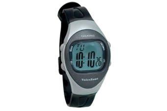 Ladies 4-Alarm Talking Watch - Black - Silver