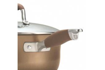 (2-Qt w/Straining Lid and Pour Spouts, Bronze) - Anolon Advanced Bronze Hard-Anodized Nonstick 1.9l Covered Straining Saucepan with Pour Spouts, Bronze