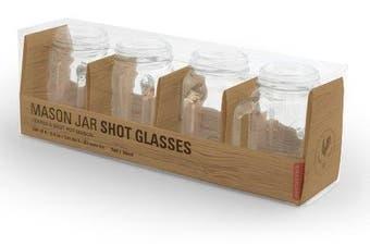 (5.1cm  - 36cm ) - Kikkerland Mason Jar Shot Glasses, Set of 4