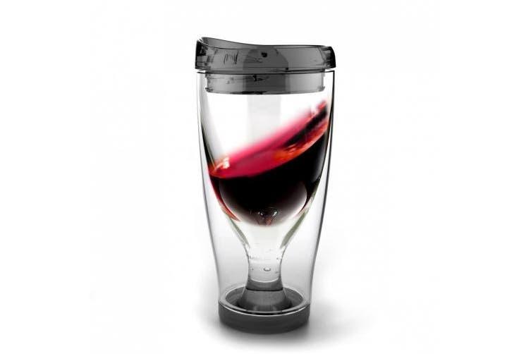 (Black) - Asobu Ice Vino 2 Go Insulated Wine Tumbler, 300ml, Black