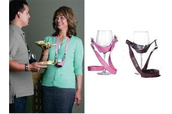 (Pink & Burgundy) - WineYoke Party Time Hand Free Wine Glass Holder Necklace - Set of 2 (Pink & Burgundy)
