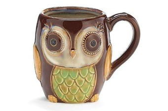 Chocolate Brown Owl Mug Porcelain 350mls Coffee Tea Drink Gift