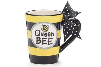 Whimsical Queen Bee 380ml Coffee Mug with Polka Dot Bow on Handle Gift Boxed