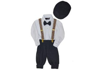 (Medium/6-12 Months, Charcoal) - Gino Giovanni Boys Vintage Style Knickers Outfit Suspenders Set