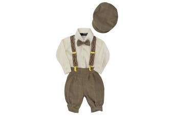 (6, Natural) - Gino Giovanni Boys Vintage Style Knickers Outfit Suspenders Set