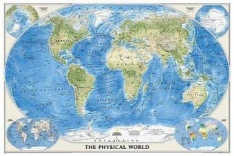 World Physical, Enlarged & Laminated: Wall Maps World
