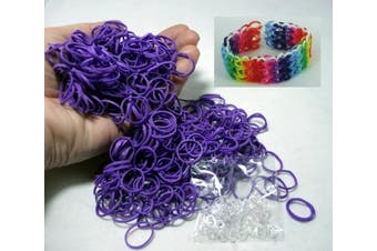 BlueDot Trading 600-Piece Do-It-Yourself Bracelet Kit Refill Pack Rubber Band and S-Clips for Loom Art/Kids Craft with Rainbow, Purple