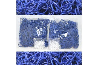 BlueDot Trading 1200-Piece Do-It-Yourself Bracelet Kit Refill Pack Rubber Band and S-Clips for Loom Art/Kids Craft with Rainbow, Blue