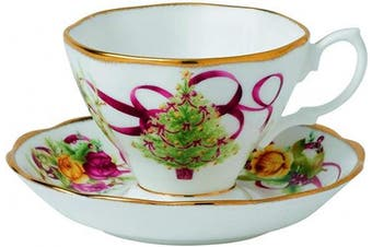 (TEACUP & SAUCER SET) - Old Country Roses Christmas Tree Teacup and Saucer Set