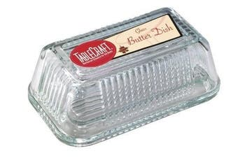 (Ribbed glass) - Tablecraft Ribbed Glass Butter Dish clear